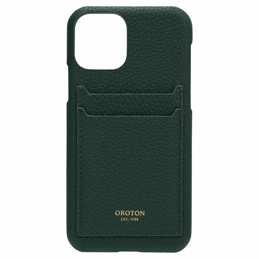 Oroton Lucy IPhone 11 Pro 2 Credit Card Cover in Fern Green and Pebble Leather for female