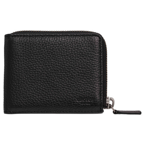 Oroton Harry Pebble 6 Credit Card Zip Wallet in Black and Pebble Leather for male