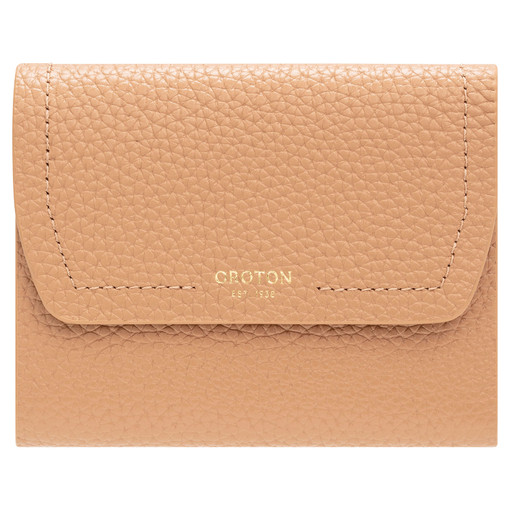 Oroton Anna Tri Fold Zip Wallet in Biscotti and Pebble Leather for female