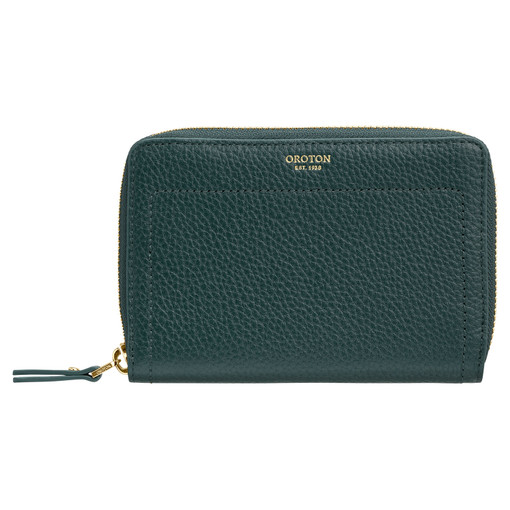 Oroton Lucy Small Book Wallet in Fern Green and Pebble Leather for female