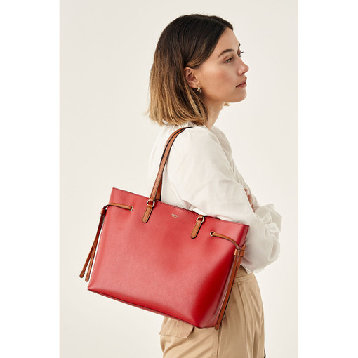 Oroton Harriet Medium Tote in Scarlet and Saffiano Leather for female