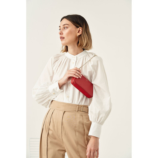 Oroton Atlas Wristlet Clutch in Scarlet and Pebble Leather for female