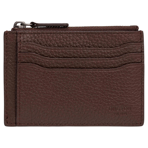 Oroton Harry Pebble Money Clip Credit Card Sleeve in Cedar and Pebble Leather for male
