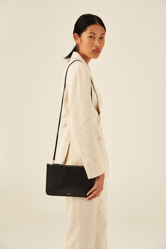 Oroton Lucy Double Zip Crossbody in Black and Pebble Leather for female