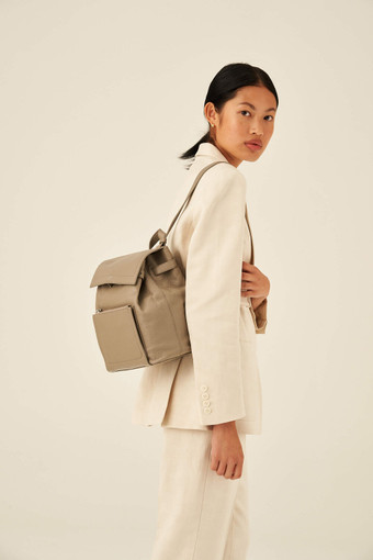 Oroton Lucy Small Backpack in Stone and Pebble Leather for female