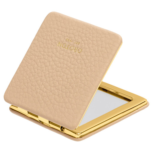 Oroton Lucy Square Mirror Compact in Praline and Pebble Leather for female