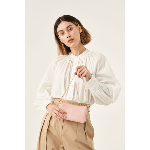 Oroton Atlas Wristlet Clutch in Pink Musk and Pebble Leather for female