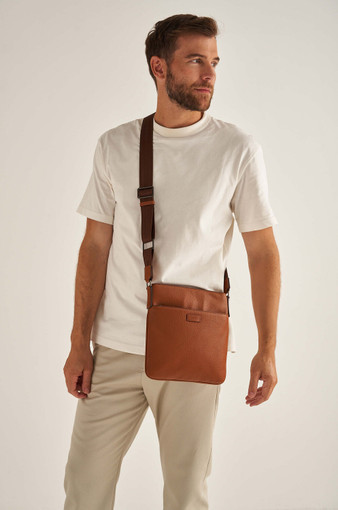 Oroton Harry Pebble Messenger Bag in Cognac and Pebble Leather for male