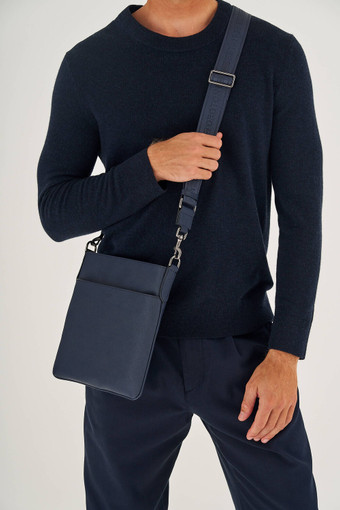Oroton Hugo Messenger Bag in Ink and Saffiano Leather for male