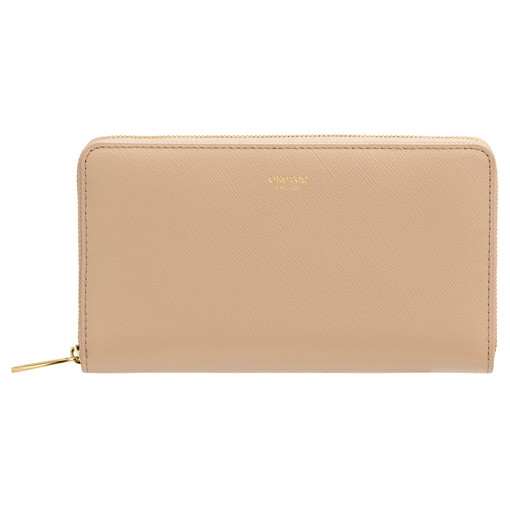 Oroton Inez Zip Book Wallet in Fawn and Saffiano Leather for female