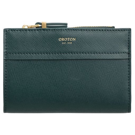Oroton Phoebe 10 Credit Card Zip Wallet in Fern Green and Saffiano Leather for female