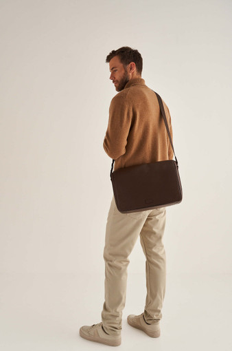 Oroton Harry Pebble EW Satchel in Cedar and Pebble Leather for male