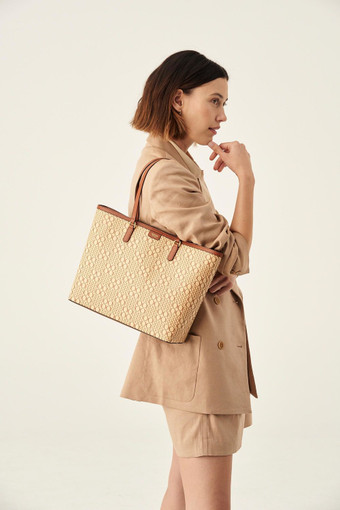 Oroton Harriet Medium Tote in Cognac Natural and Printed Paper Woven Straw/ Faux Leather Trims for female