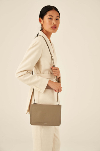 Oroton Lucy Double Zip Crossbody in Stone and Pebble Leather for female