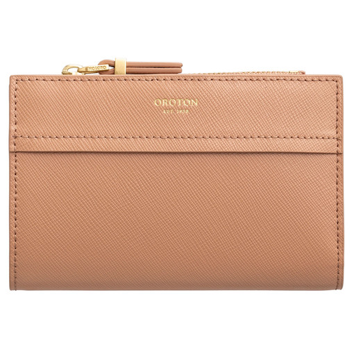 Oroton Phoebe 10 Credit Card Zip Wallet in Biscotti and Saffiano Leather for female