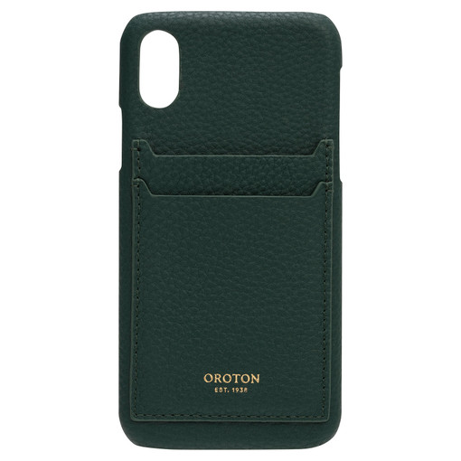 Oroton Lucy IPhone X 2 Credit Card Cover in Fern Green and Pebble Leather for female