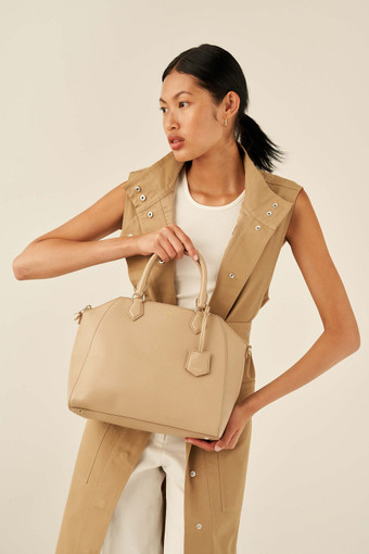 Oroton Inez Day Bag in Fawn and Saffiano Leather for female