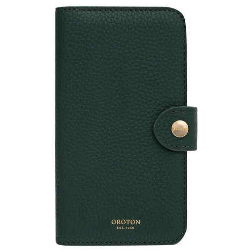 Oroton Lucy IPhone 11 Pro Max 9 Credit Card Zip Wallet in Fern Green and Pebble Leather for female