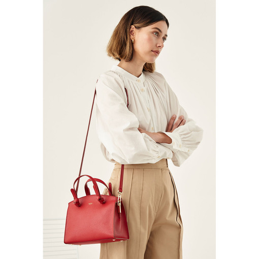 Oroton Atlas Small Day Bag in Scarlet and Pebble Leather Fused With Saffiano Leather for female
