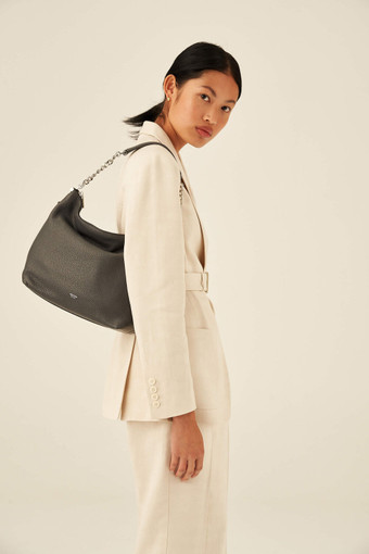 Oroton Nina Zip Top Hobo in Charcoal and Pebble Leather for female