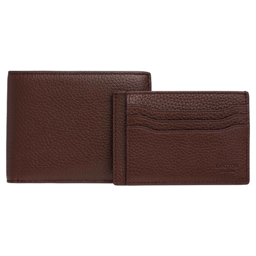 Oroton Harry Pebble 8 Credit Card Wallet And Credit Card Sleeve Set in Cedar and Pebble Leather for male
