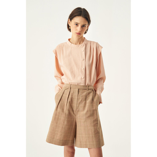 Oroton Cotton-Linen Check Short in Camel Check and 62% Linen 38% Cotton for female