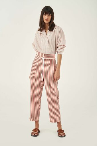 Oroton Stripe Relaxed Pant in Quince and 89% Viscose 11% Polyamide for female