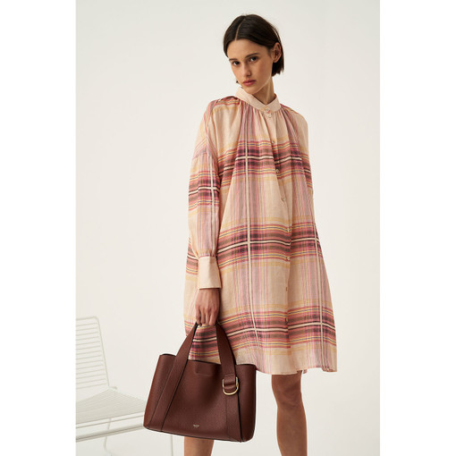 Oroton Linen Check Shirt Dress in Dusty Peach Check and 100% Linen for female