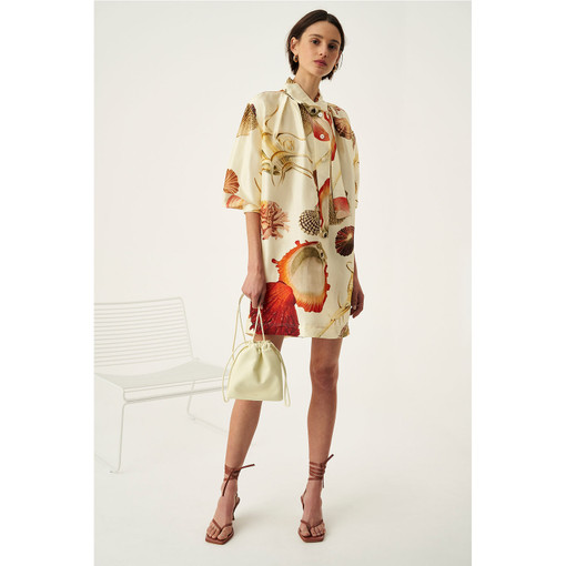 Oroton Silk Ocean Shell Print Dress in Pale Sand and 100% Silk for female