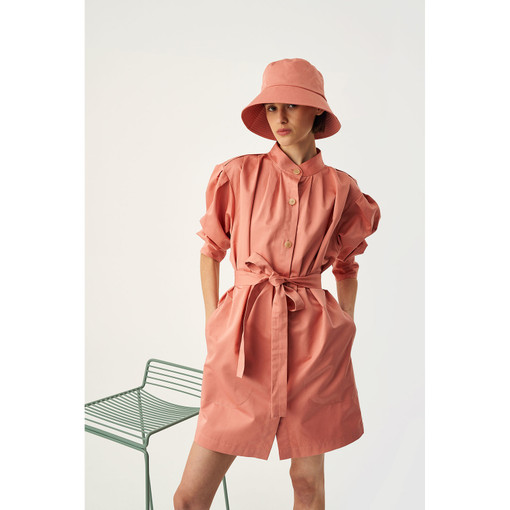 Oroton Placket Detail Dress in Quince and 70% Cotton 30% Linen for female