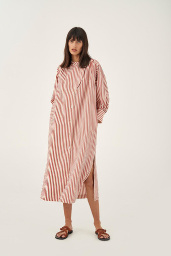 Oroton Stripe Shirt Dress in Quince and 89% Viscose 11% Polyamide for female