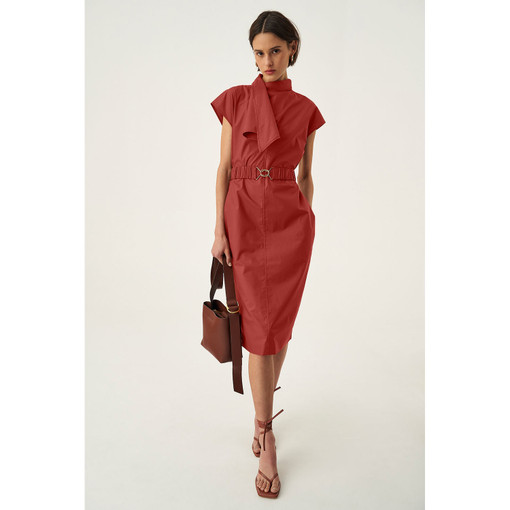 Oroton Poplin Wrap Neck Dress in Faded Red and 100% Cotton for female