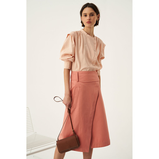 Oroton Cotton-Linen Wrap Skirt in Quince and 70% Cotton 30% Linen for female