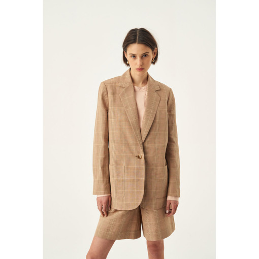 Oroton Cotton-Linen Check Jacket in Camel Check and 62% Linen 38% Cotton for female