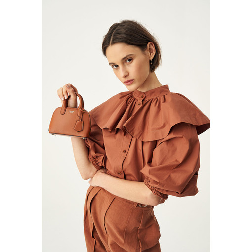 Oroton Cape Detail Blouse in Dark Cedar and 100% Cotton for female