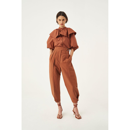 Oroton Tab Detail Pant in Dark Cedar and 57% Linen 43% Cotton for female