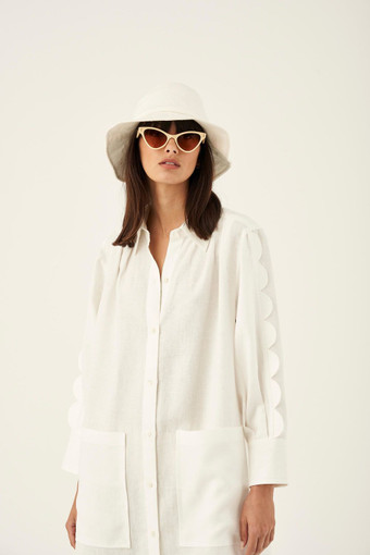Oroton Scalloped Shirt Dress in White and 100% Linen for female