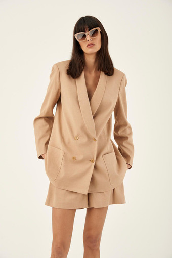Oroton Double Breasted Jacket in Dark Treacle and 65% Linen 34% Cotton 1% Elastane for female