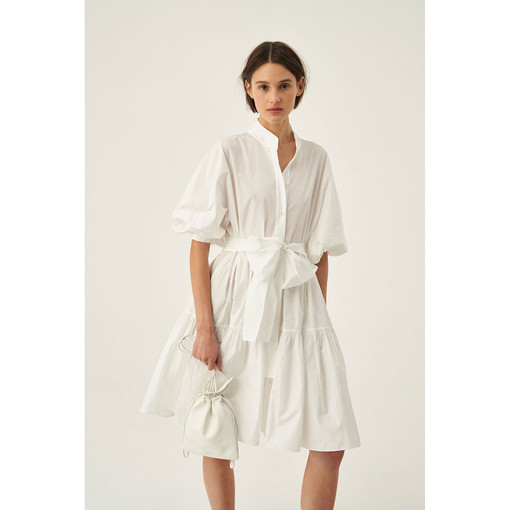 Oroton Tiered Taffeta Dress in White and 100% Polyester for female