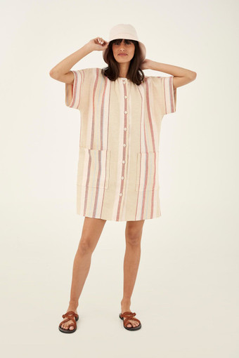 Oroton Short Sleeve Stripe Dress in Dark Treacle and 100% Linen for female