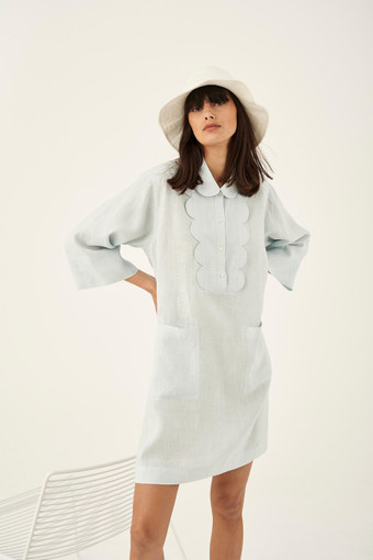 Oroton Short Scalloped Dress in Ice Blue and 100% Linen for female