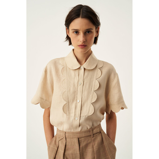 Oroton Scalloped Shirt in Nougat and 100% Linen for female