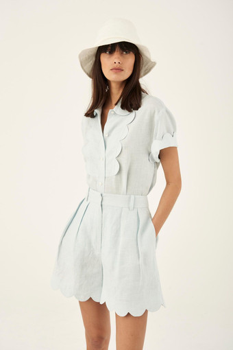 Oroton Scalloped Short in Ice Blue and 100% Linen for female