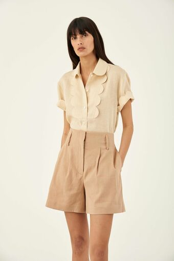 Oroton Pleat Front Short in Dark Treacle and 65% Linen 34% Cotton 1% Elastane for female