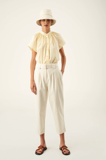 Oroton Tie Waist Pant in Cream and 100% Cotton for female