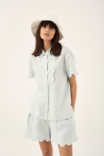 Oroton Scalloped Shirt in Ice Blue and 100% Linen for female