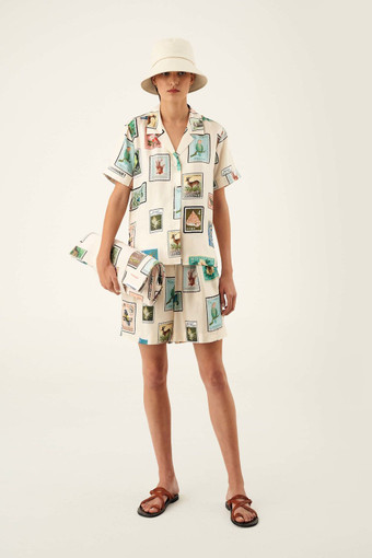 Oroton Stamp Print Camp Shirt in Cream and 100% Silk for female