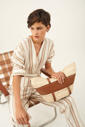 Oroton Stripe Wrap Shirt in Dark Treacle and 100% Linen for female