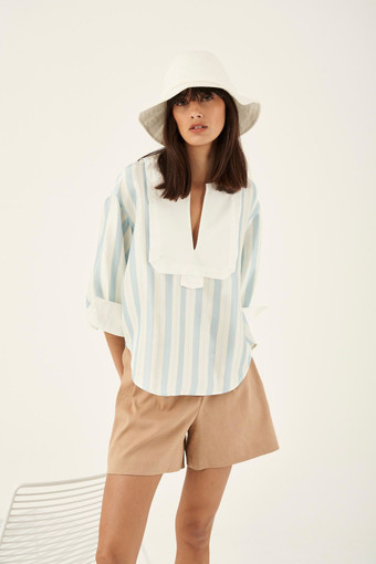 Oroton Silk Stripe Print Popover in Blue Stripe and 100% Silk with 100% Cotton Contrast Features for female