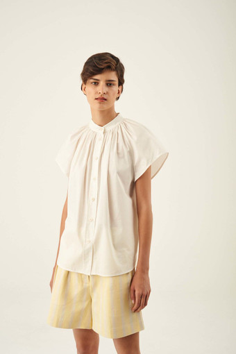 Oroton Gathered Short Sleeve Shirt in Cream and 100% Cotton for female